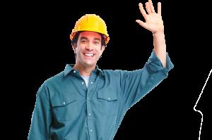 Lucrator de la firma specializata in reparatii termopane care saluta viitorii clienti