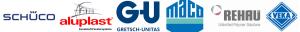 Un colaj de logo-uri de la diferite forme producatoare de termopane